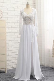 Vestido de novia Falta Corte-A Encaje Mangas Illusion Capa de encaje