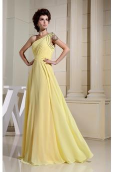 Vestido de noche Natural Formal Corte-A Gasa Escote Asimètrico Hasta el suelo