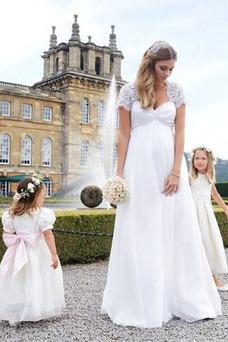 Vestido de novia Sencillo Alto cubierto Hasta el suelo Encaje Plisado