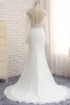 Vestido de novia Escote redondo Transparente Natural largo Encaje Corte Recto