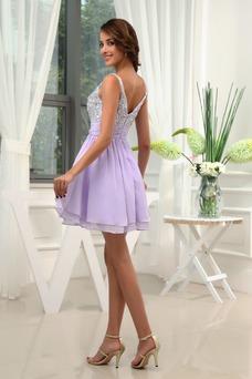 Vestido de cóctel Informal Cristal Tiras anchas Corte-A Falta Gasa