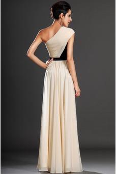 Vestido de noche Gasa Natural Corte-A Cintas Verano Asimétrico Estilo