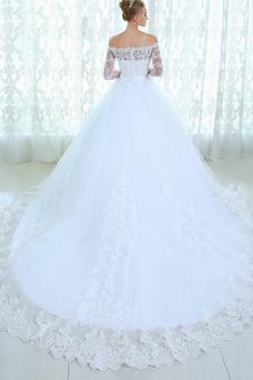 Vestido de novia Manga larga Mangas Illusion Natural Escote con Hombros caídos