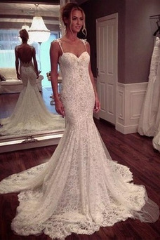 Vestido de novia Espalda Descubierta Escote de Tirantes Espaguetis Sin mangas
