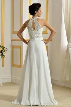 Vestido de novia Cremallera Gasa largo Capa de encaje Fuera de casa