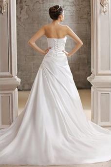 Vestido de novia Corte-A Drapeado Satén Sin mangas Falta Fuera de casa