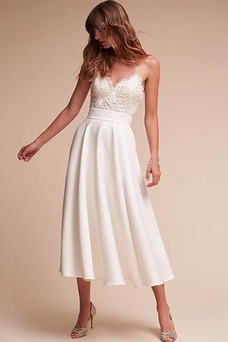 Vestido de novia Encaje Elegante Delgado Hasta la Tibia Natural Corte-A