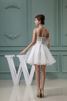 Vestido de graduacion Natural Corte-A Organza Informal Plisado Tiras anchas