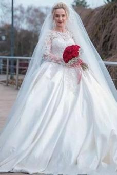 Vestido de novia Colores Tallas grandes Cola Corte Otoño Barco Mangas Illusion