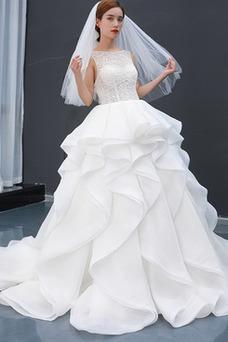 Vestido de novia Cascada de volantes Capa Multi Corte-A Encaje Sin mangas