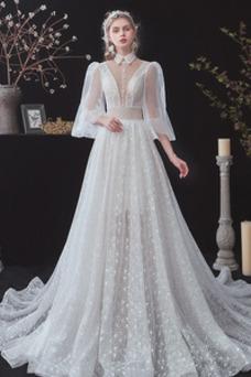 Vestido de novia Natural primavera Cola Barriba Botón Cordón Escote con cuello Alto