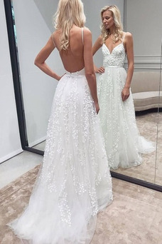 Vestido de novia Baja escote en V Sin mangas Fuera de casa Escote de Tirantes Espaguetis