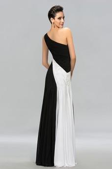 Vestido de noche primavera Sin mangas Corte-A Natural Blusa plisada
