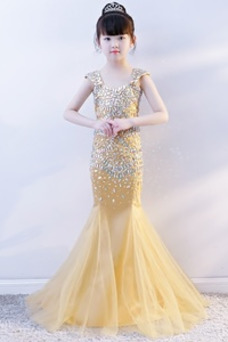 Vestido niña ceremonia Estrellado Corpiño Acentuado con Perla Cremallera Drapeado