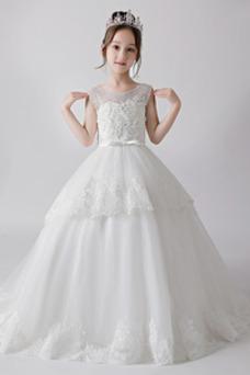 Vestido niña ceremonia Lazos Corte-A largo Formal Verano Natural