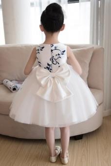 Vestido niña ceremonia Bordado Sin mangas Corte-A Hasta la Rodilla Natural