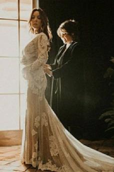 Vestido de novia Manga larga Corte-A tul Baja escote en V Pera largo