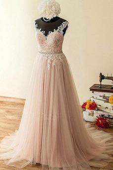 Vestido de novia Corte-A Falta Drapeado Sencillo Pura espalda tul