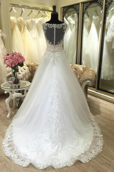 Vestido de novia Natural Pura espalda largo Barco Apliques Sin mangas