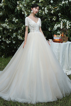 Vestido de novia Corte-A Manga corta Cordón vendimia Natural primavera