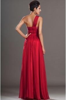 Vestido de noche rubí Un sólo hombro Natural Espalda medio descubierto