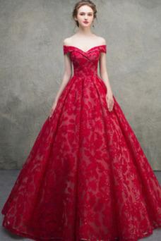 Vestido de novia Satén Cordón largo Escote con Hombros caídos Iglesia