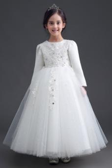 Vestido niña ceremonia Cremallera Joya Satén Arco Acentuado Bordado Formal