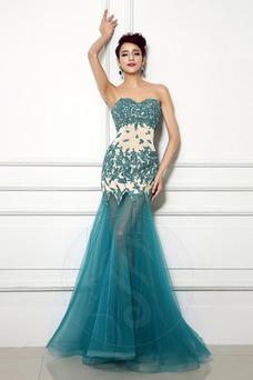 Vestido de noche Corte Sirena Encaje Natural Otoño Sin mangas Espalda Descubierta