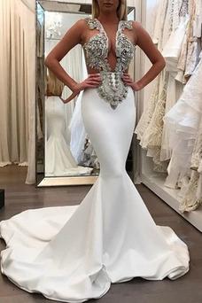 Vestido de fiesta Corte Sirena largo Baja escote en V sexy Cremallera