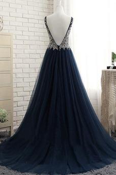 Vestido de fiesta Escote en V tul Corte-A Drapeado largo Corpiño Acentuado con Perla