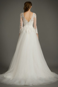 Vestido de novia Cremallera Mangas Illusion Elegante tul Apliques Corte-A