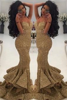 Vestido de fiesta Formal Corte Sirena Espalda Descubierta Natural Sin mangas