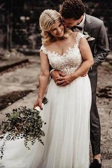 Vestido de novia Sencillo Otoño Drapeado Encaje Escote con Hombros caídos