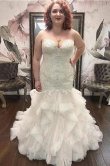 Vestido de novia Reloj de Arena largo Sin mangas Cremallera Escote Corazón