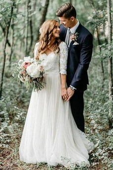 Vestido de novia Elegante Apliques Camiseta largo Corte-A Encaje