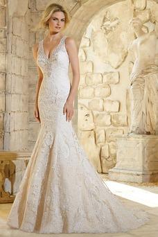 Vestido de novia Encaje Natural Corte Sirena Espalda medio descubierto