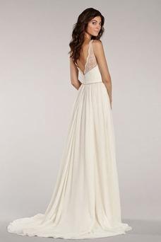 Vestido de novia sexy Cremallera Apertura Frontal Sin mangas Escote en V