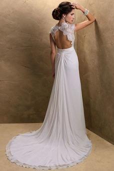 Vestido de novia Cola Capilla Encaje Corte Recto Cremallera Sin mangas