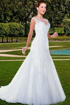 Vestido de novia Barco Sin mangas Sala Otoño largo Encaje
