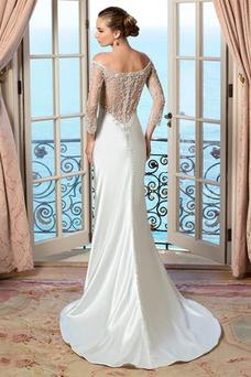 Vestido de novia Abalorio Manga de longitud 3/4 largo primavera Cremallera