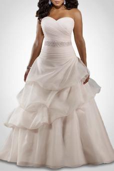 Vestido de novia Otoño Apliques Formal Corte-A Escote Corazón Organza