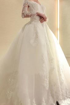 Vestido de novia Manga larga Cremallera Cola Real Bola Espectaculares