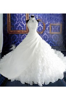 Vestido de novia Natural Corte-A Sin mangas Organza Iglesia Cremallera