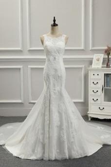 Vestido de novia Falta Fuera de casa Abalorio Sin mangas Cordón Cintura Baja