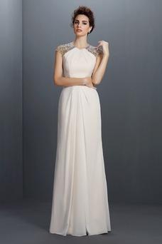 Vestido de fiesta Elegante Natural Gasa Espalda con ojo de cerradura