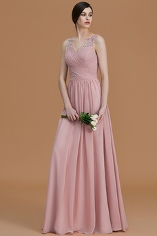 Vestido de dama de honor Otoño Elegante Sin mangas Corte-A Gasa Abalorio