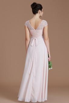 Vestido de dama de honor Capa de encaje Corte-A Hasta el suelo Encaje Natural