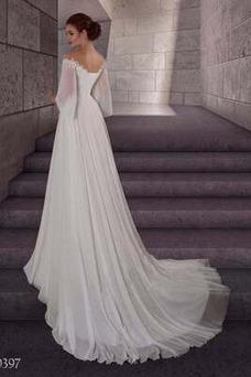 Vestido de novia Playa Escote con Hombros caídos Drapeado Manga suelta
