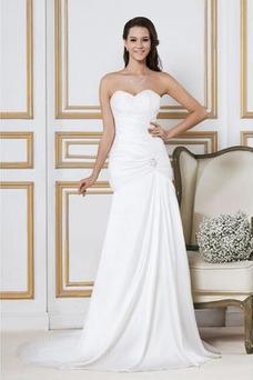 Vestido de novia Blusa plisada Corte Recto Playa Cintura Baja Espalda Descubierta