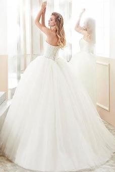 Vestido de novia Elegante Natural Abalorio Corpiño Acentuado con Perla